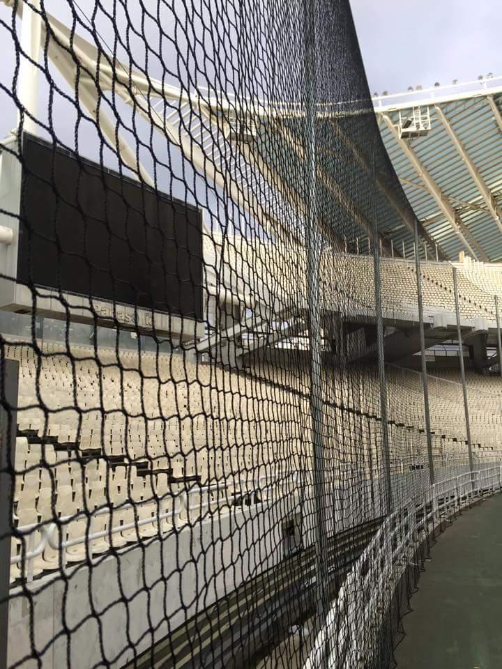 flame retardant safety net at the Calatrava Olympic Stadium